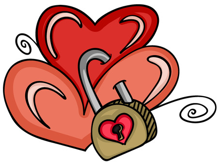two: Two hearts locked with padlock