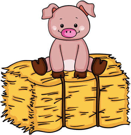 Little pig up on bale of hay.