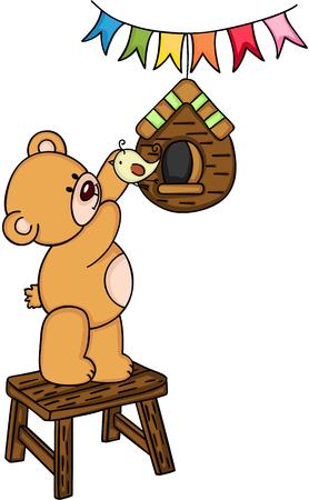 Mignon ours en peluche et oiseau Banque d'images - 86139896