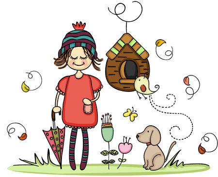 Girl with dog in the autumn park Illustration