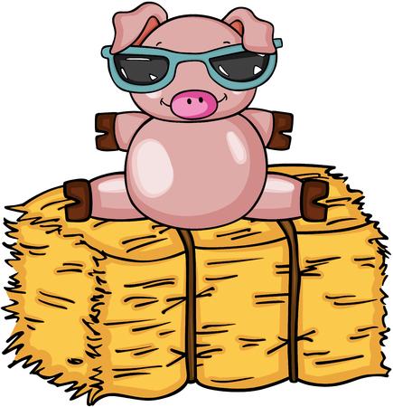 Cochon mignon avec des lunettes de soleil sur la botte d'illustration vectorielle de foin