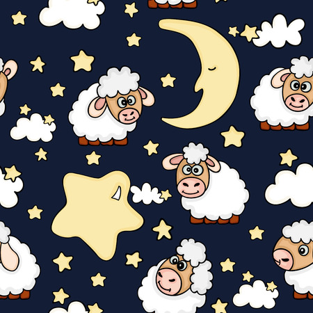 Seamless night dreams with sheep vector illustration Ilustrace