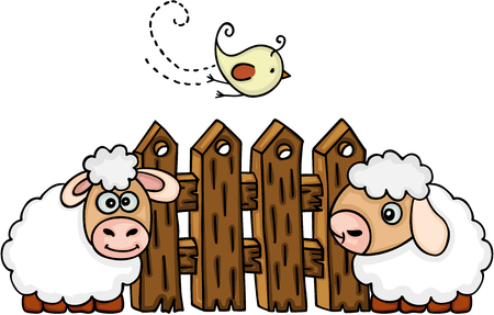 Sheeps with bird before a fence vector illustration