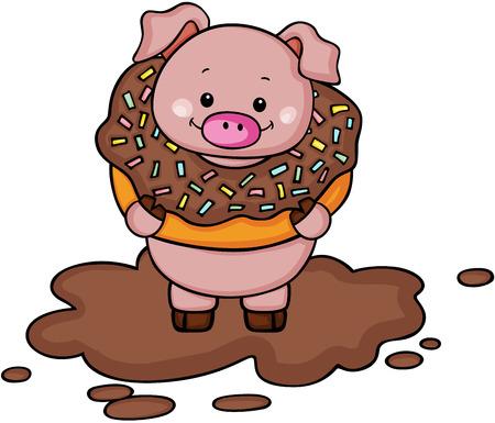 Pig inside chocolate donut on mud