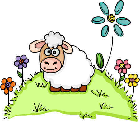 Sheep standing in a field with flowers