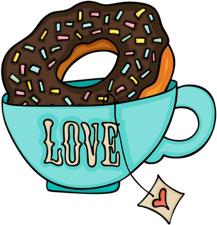Love tea cup and chocolate cake donut