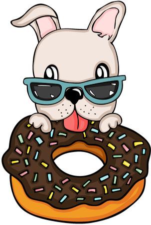 Dog eating chocolate cake donut