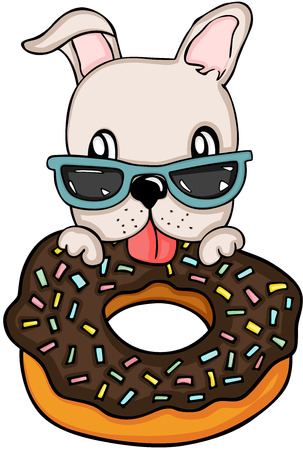 Dog eating chocolate cake donut