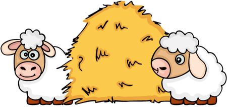 Two sheep with dried hay Ilustração