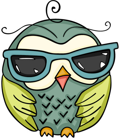 Cute owl with sunglasses Иллюстрация
