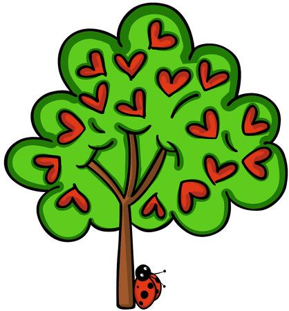 ladybug: Love tree with ladybird