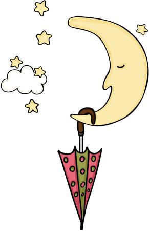 Moon with umbrella Vektorové ilustrace