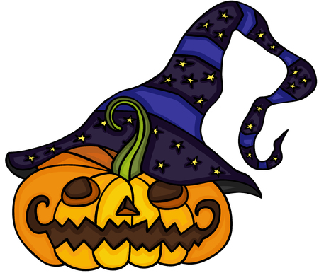 hysteria: Cute halloween pumpkin with witch hat