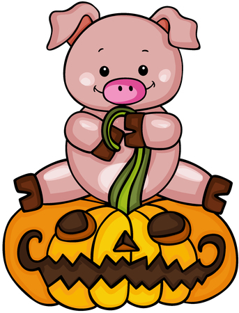 Cute pig with halloween pumpkin