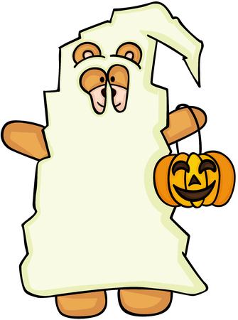 Halloween teddy bear dressed as ghost