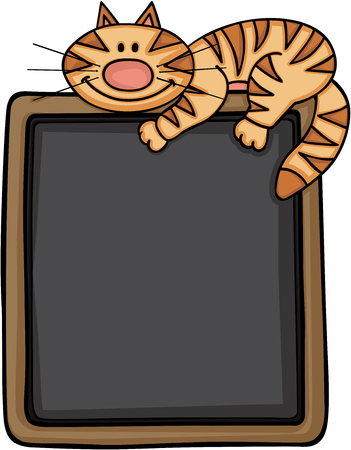 Happy cat with blackboard background