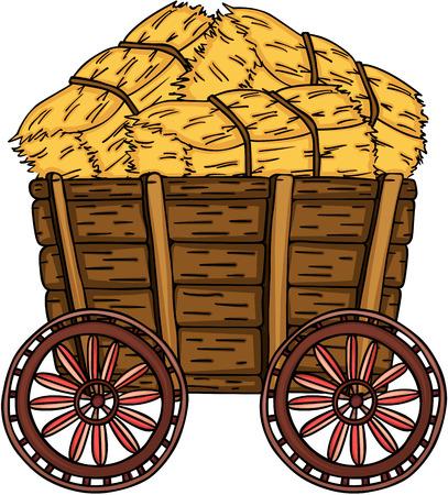 Chariot en bois avec botte de foin Vecteurs