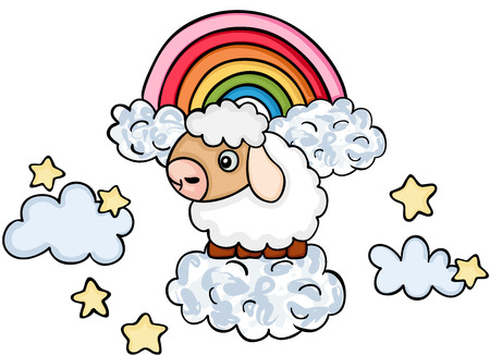 Cute sheep on sky with clouds and rainbow Ilustrace