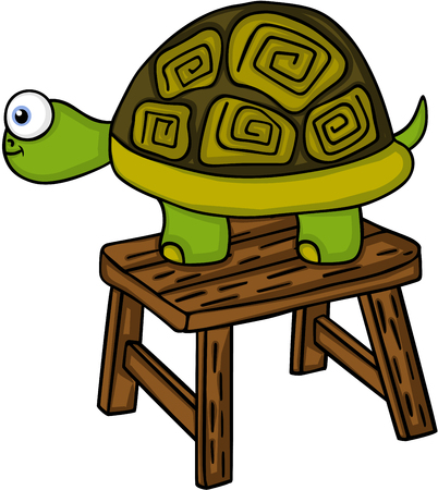 Turtle on a little wooden bench in cartoon illustration. Illustration