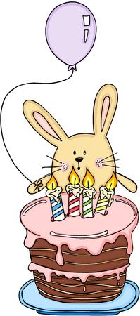 lapin: Drôle de lapin avec un ballon et un gâteau d'anniversaire