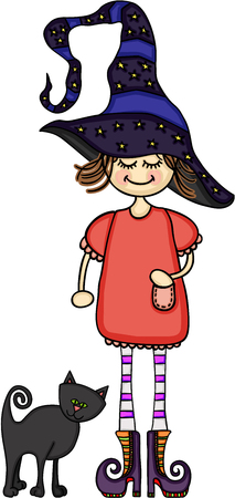 night dress: Girl dressed as a witch with a black cat