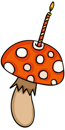 Mushroom with birthday candle