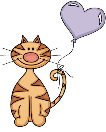 birthday celebration: Happy cat with heart balloon