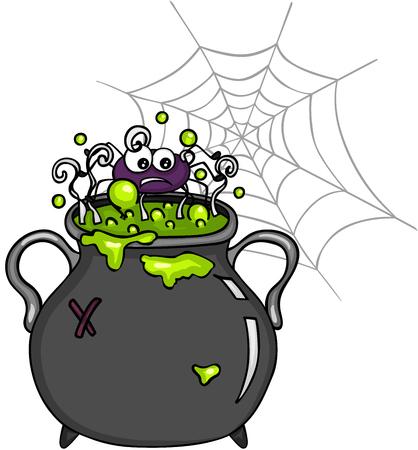 Spider inside witch cauldron
