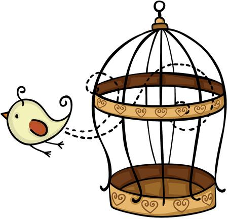 케이지에서 날아 다니는 새