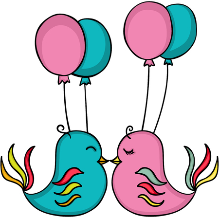 Birds in love with balloons Иллюстрация