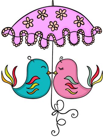 Couple birds with umbrella Illustration