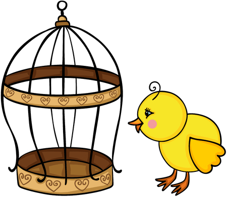Yellow chick and golden bird cage