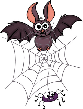 Happy bat with spider and web