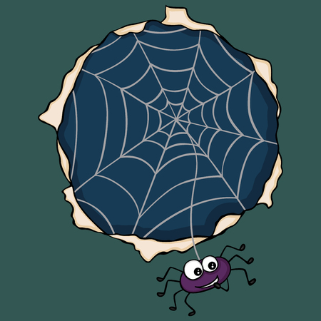 Happy spider going out of the cobweb