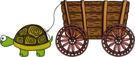Happy turtle pulling wooden trolley Illustration