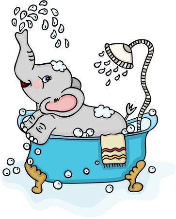 Cute elephant taking a bath