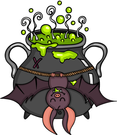 Happy bat hanging halloween cauldron