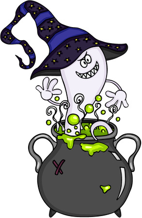 Happy ghost in halloween cauldron