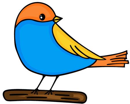 귀여운 새가 나무에 일러스트