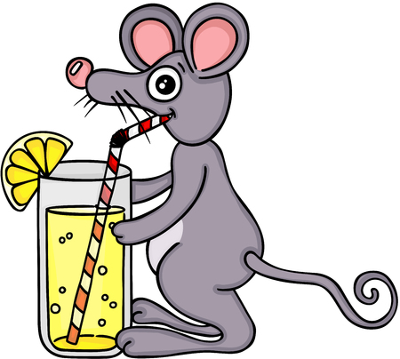 Mouse drinking lemonade with a straw Vetores