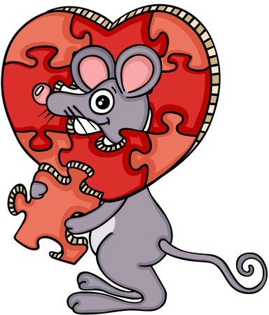 Mouse with heart shaped puzzle Stock Vector - 88257531