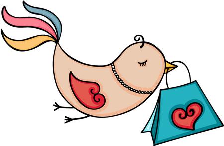 Cute bird carrying shopping bag vector. Illustration