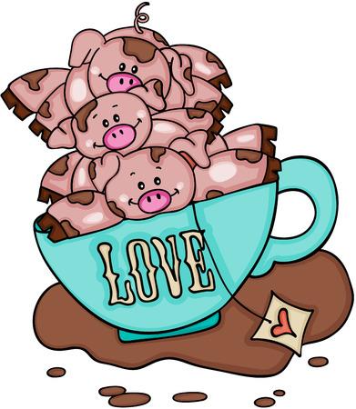 Stack of three piggies in love cup of tea Vetores