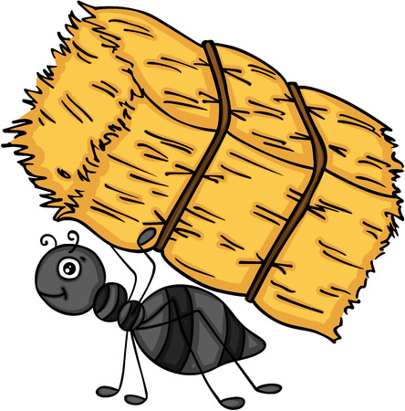 Ant carrying a bale of hay.