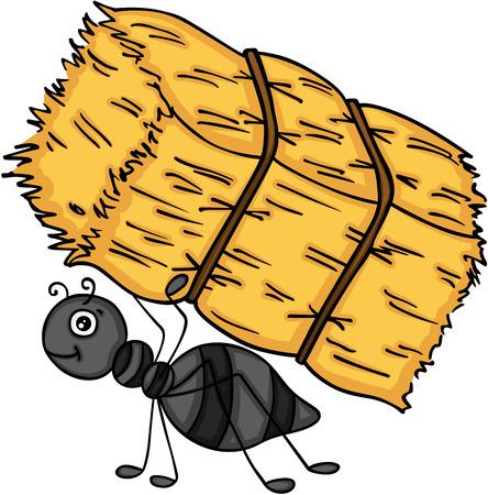 Fourmi portant une botte de foin. Vecteurs