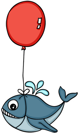 Cute whale flying with heart shaped balloon.