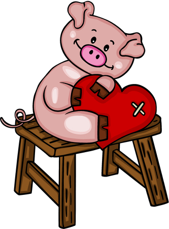 Pig with heart sitting on a little wooden bench