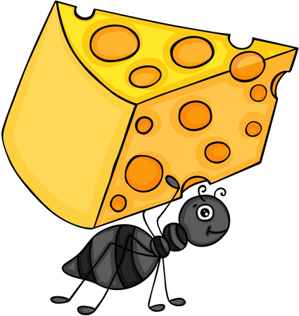 Ant carrying slice of cheese
