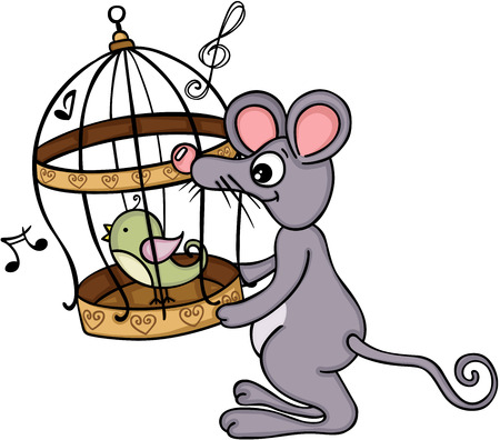 Cute mouse holding cage with singing bird