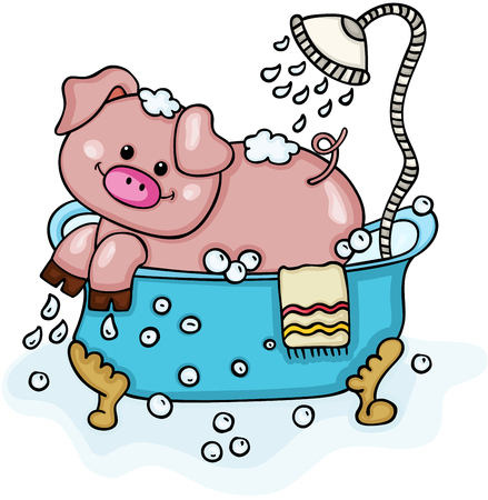 Happy pig in bathtub with shower
